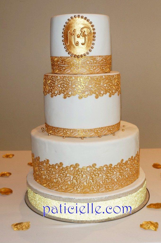 wedding cake dentelle dorée